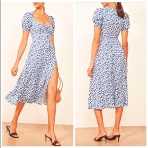 REFORMATION Lacey Smocked Puff Sleeve Midi Dress